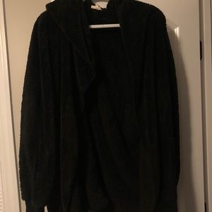 Black furry open cardigan with a hood